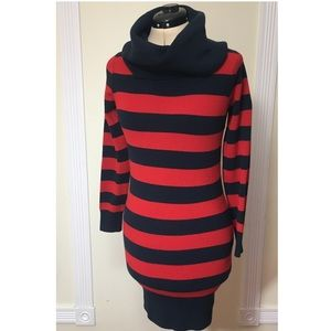 French Connection Striped Cowl Sweater Tunic Dress